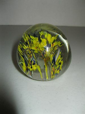 """Art Glass Paperweight ~ 2"""" Round Yellow & Blue Flowers W/ Bubbles"""