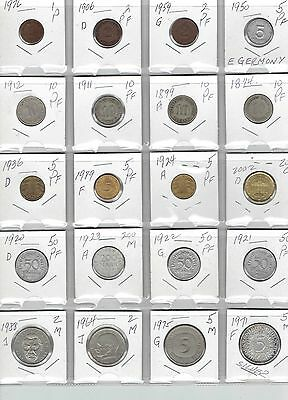 GERMANY Lot of 20 Different Coins - 1 Silver Coin