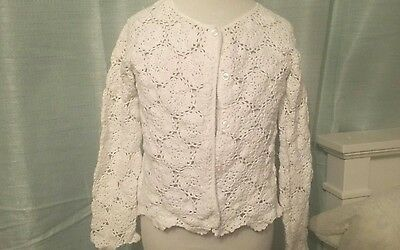 janie and jack 3t white crochet sweater easter