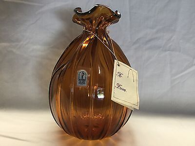 Vintage Pilgrim Glass Amber Bag/Sack Vase with tags/sticker Perfect Pristine ONS