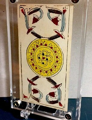 c1780 Ace of Coins Painted Antique Tarot Marseille Playing Cards Single +COA