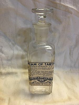 Vintage Cream of Tartar SCHMIDTS DRUG STORE SPRINGFIELD OHIO Glass Bottle