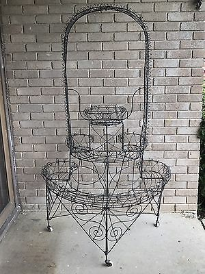 Antique Victorian Wire Work Plant Stand 3-Tier Demi-Lune Wishing Well 1860-1880