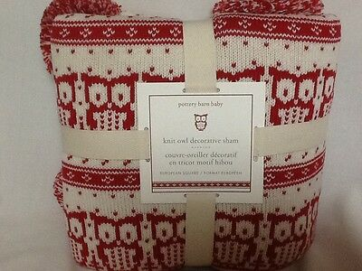 Pottery Barn Baby Kids Knit Owl Decorative Sham Euro Red New