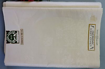 Vintage Irish double damask uncut dinner Tablecloth napkins ( set of12)