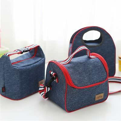 Tote Portable Denim Thermal Bag Cooler Food Box Heat Insulated Lunch Storage