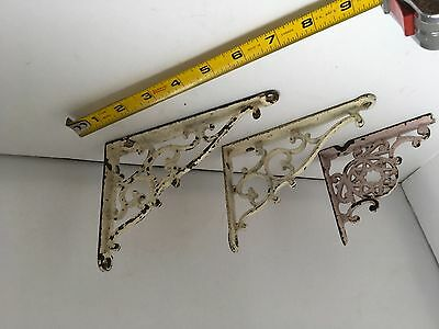 Antique Victorian cast iron hanging brackets qty 3