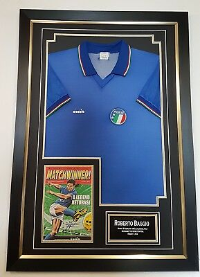 * NEW Roberto Baggio Signed Shirt Autograph Display * ITALY 90 Display