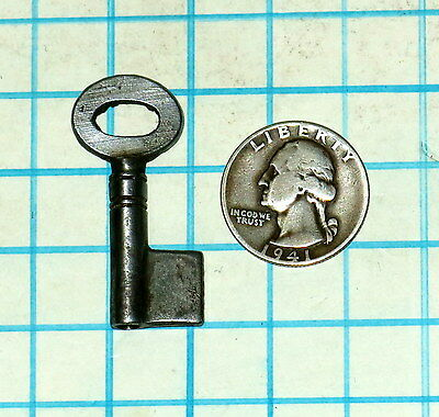 Vtg Antique Hollow Barrel Uncut Iron Brass Lever Cabinet Lock Padlock Key Blank