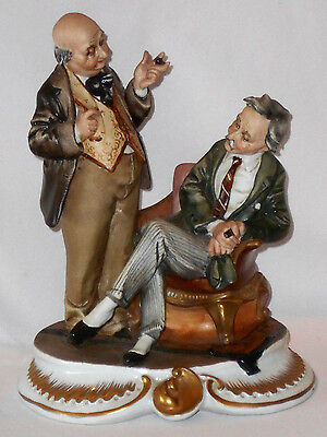 """Vintage Capodimonte? Figurine Signed Tyche Bruno """"two Gentlemen"""" 8"""" Tall Perfect"""