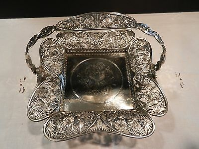 Antique Art Nouveau Brides Basket Pairpoint Mfg. Co.1230 Quadruple Silverplate