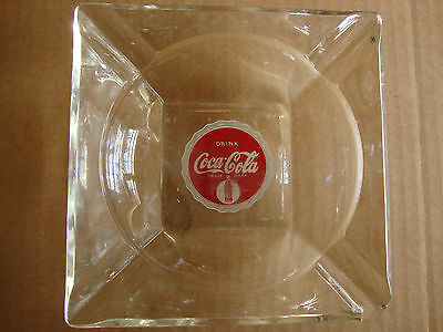 Vintage Coca-Cola Clear Glass Ashtray--Great!!!
