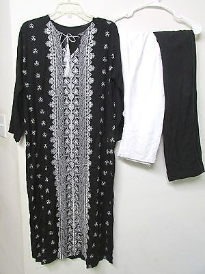 *SALE* Gorgeous Black & White 3pc Embroidery Suit Cigarette Pants Pakistani