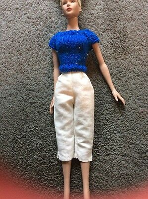 Blue Tweed Knit Sweater And White Capris For Taller Wentworth