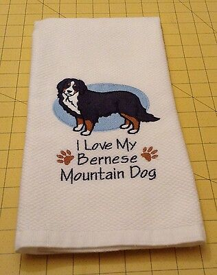 I Love My Bernese Mountain Dog Embroidered Kitchen Hand Towel 100% cotton