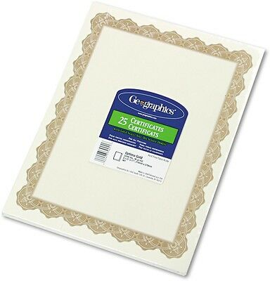 Geographics - Parchment Paper Certificates, 8-1/2 X 11, Optima Gold Border, 25