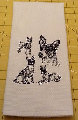 RAT TERRIER COLLAGE SKETCH Williams Sonoma Embroidered Kitchen Hand Towel, XL