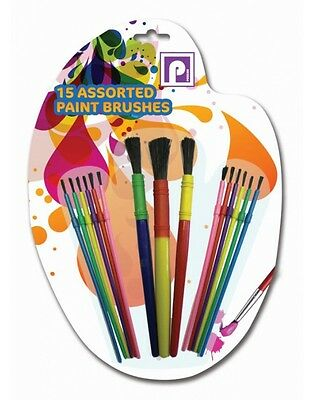 15 Paint Brushes Set Water Colour Children Art Craft Painting Various Size