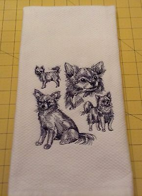 Chihuahua Long Hair Collage Sketch Williams Sonoma Embroidered Kitchen Towel
