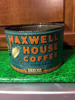 VINTAGE MAXWELL HOUSE COFFEE TIN One Pound 1 lb., Blue, Old