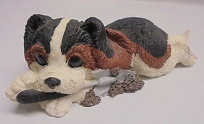 Small Hand Made/Painted Resin Beagle Puppy Dog Statue/Figurine Laying/Playing