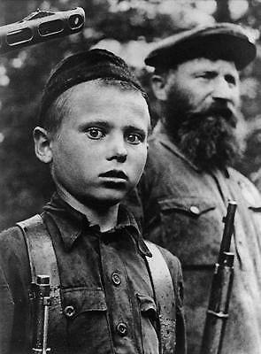 WWII B&W Photo Young Russian Soldier Rifle  WW2 World War Two Russia / 1113