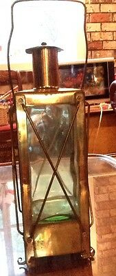 Musical Brass Lantern With Green Glass Decanter From Sweden. Plays 'How Dry I Am
