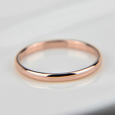 18K rose gold plated plain classic 2mm thin engagement wedding ring US size 9