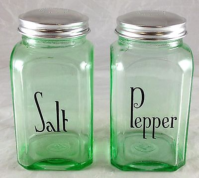 Emerald Green Glass With Black Writing Range Size Salt & Pepper Shakers Set