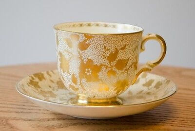 Stunning Vintage Tuscan Plant Cup & Saucer Set - Gold Chintz
