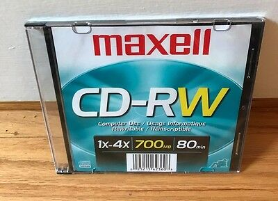 5 Maxell CD-RW, Branded Surface 700MB/80MIN 4x 630010 5 CDs Total