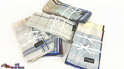 Men Hanky Handkerchiefs Pocket Cotton Square Bulk Lot 36x36cm Random Colors OZ
