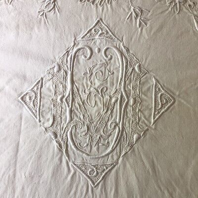 Antique FRENCH Pure Linen TROUSSEAU DOWRY SHEET Hd Embroidered Roses Mono UM MU
