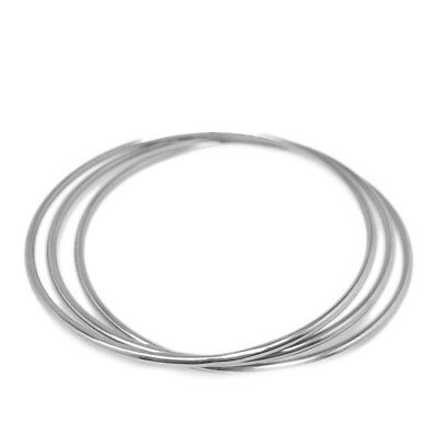 Skinny Simple Silver Bangle Bracelet Set of 3 Stainless Steel Jewelry for Women