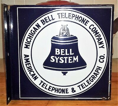 Vintage 1950's Michigan Bell Telephone Company Porcelain Flange Sign
