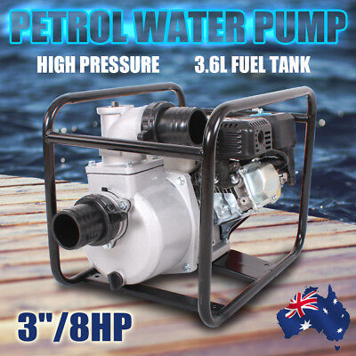 3 Inch 8HP Petrol Water Transfer Pump High Flow For Irrigation Fire Fighting NEW