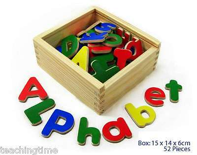 Colourful wooden magnetic abc alphabet upper and lower case letters educational