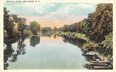 NEW PALTZ, NY  New York  BOATS ON THE WALKILL RIVER  Ulster Co  c1920's Postcard