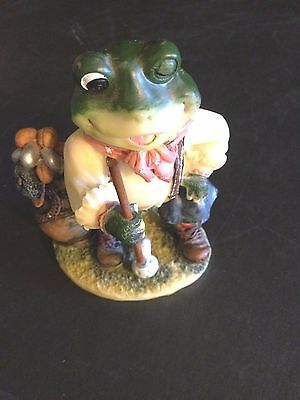 "FROG GOLPHING Resin Figurine - 5-1/2"" Tall - Don Mechanic Enterprises Good Cond."