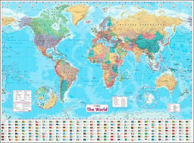 Collins World Wall Paper Map by Collins UK (English) Free Shipping!