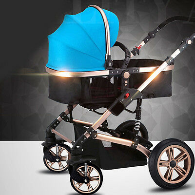 Luxury Baby Stroller 2-in-1 Carriage Infant Travel Foldable Pram Pushchair Carts