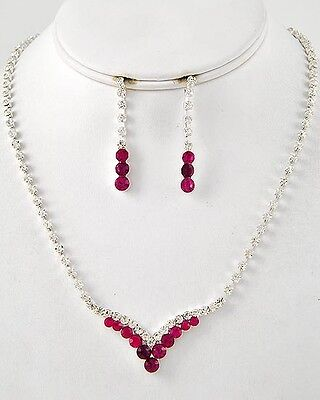 Formal Bridal Wedding Pageant Silver Fuchsia Pink Crystal Fashion Necklace Set