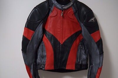 Men's TEKNIC Padded Red/Black Leather Motorcycle Jacket Size 42/52 EU US Small