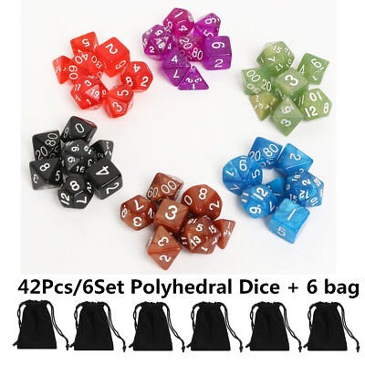 42 Pcs 6 Sets With Bag Polyhedral Dice For DND RPG MTG Board Game Pathfinder New