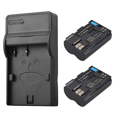 2x 2000Mah BP-511A Battery + Charger For Canon For Canon EOS 40D 50D 10D D60 G6