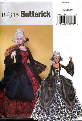 Butterick 4315 Historic French Gown Pattern Antoinette Costume Theater Size 6-12