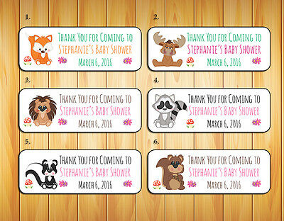 30 Personalized Baby WOODLAND ANIMALS Baby Shower Favor or Address Labels