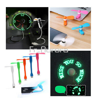 Portable Mini/Micro LED USB Cooling Clock Fan Flashing Real Time Display Android