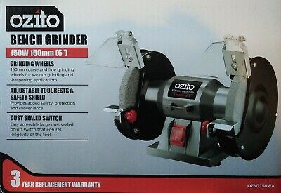 "Ozito 150mm (6"") Bench Grinder 150W Induction Motor Adjustable Eye Safe Shields"
