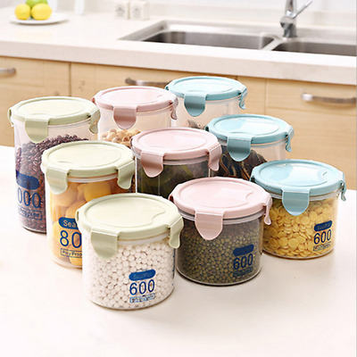 Kitchen Cereal nuts Storage Plastic Fresh Pot Container Box Sealing Food